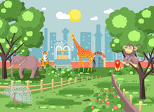 Vector illustration banner landscape, scenery, view, for site with zoo excursion, zoological garden, monkey, peacock Royalty Free Stock Images