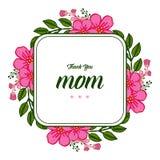 Vector illustration banner love mom with ornate frame flower pink and green leaf. Hand drawn stock illustration