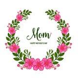 Vector illustration banner love mom with ornate frame flower pink and green leaf. Hand drawn royalty free illustration