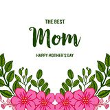 Vector illustration banner love mom with ornate frame flower pink and green leaf. Hand drawn vector illustration