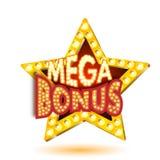 Vector illustration of banner mega bonus star with lights. Isolated on a white background. Easily editable vector illustration