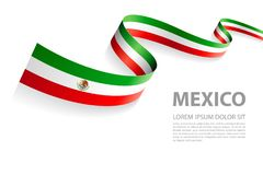 Mexican flag vector banner Royalty Free Stock Photo