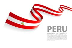 Vector Banner with Peru Flag colors. Vector Illustration Banner with Peru Flag colors in a perspective view Stock Illustration