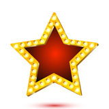 Vector illustration of banner red star frame with lights Royalty Free Stock Photography
