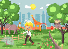 Vector illustration banner for site with schoolchild on walk, school zoo excursion zoological garden, blonde little boy. Stock vector illustration banner for Stock Images