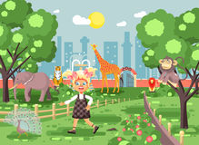 Vector illustration banner for site with schoolchild on walk, school zoo excursion zoological garden, blonde little girl Stock Photos