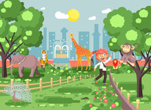 Vector illustration banner for site with schoolchild on walk, school zoo excursion zoological garden, boy redhead teases Stock Image