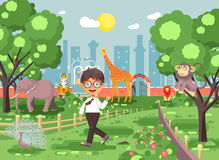 Vector illustration banner for site with schoolchild on walk school zoo excursion zoological garden, brunette little boy Stock Photography