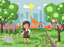 Vector illustration banner for site with schoolchild on walk school zoo excursion zoological garden, brunette little Royalty Free Stock Photos