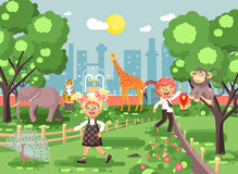 Vector illustration or banner for site with schoolchildren, classmates on walk, school zoo excursion zoological garden Stock Images