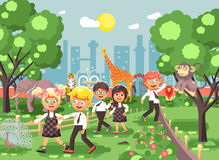 Vector illustration or banner for site with schoolchildren, classmates on walk, school zoo excursion zoological garden Royalty Free Stock Photography