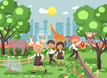 Vector illustration or banner for site with schoolchildren, classmates on walk, school zoo excursion zoological garden Stock Photos
