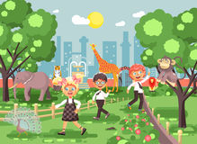 Vector illustration or banner for site with schoolchildren, classmates on walk, school zoo excursion zoological garden Royalty Free Stock Image