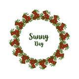 Vector illustration banner sunny day with ornate of flower frame. Hand drawn vector illustration