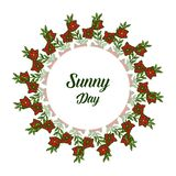 Vector illustration banner sunny day with ornate of flower frame. Hand drawn royalty free illustration