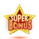 Vector illustration of banner super bonus star with lights Royalty Free Stock Photos