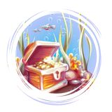 Vector illustration of banner with treasure chest in ocean vector illustration