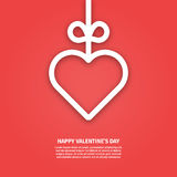 Vector illustration of banner valentines day concept in line style. Graphic design white heart and ribbon on red background. Outline love symbol object. Can be royalty free illustration