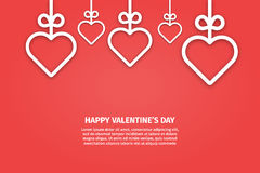 Vector illustration of banner valentines day concept in line style. Graphic design white hearts and ribbons on red background. Outline love symbols objects royalty free illustration
