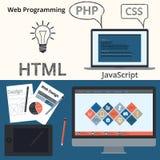 Vector illustration banner web design and programming Stock Image