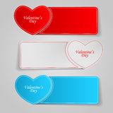Vector illustration of a banner for the Web. Valentine's Day. Vector illustration of a banner with heart-shaped and rectangular Stock Illustration