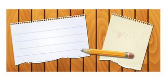 Banner wood texture with notepad pencil Stock Images