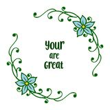 Vector illustration banner your are great with ornate blue wreath frame. Hand drawn royalty free illustration