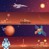 Vector illustration banners of space flight spaceships exploration. Mars in outer space, galaxy Mars rover, rocket. Shuttle and colony city base with astronaut stock illustration