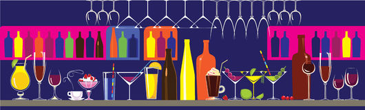 Vector illustration of bar, composition of bottles, glasses, cocktails. Vector illustration of bar in cafe, clud, composition of bottles, glasses, cocktails vector illustration