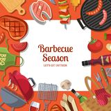 Vector illustration with barbecue or grill cooking theme with place for text stock illustration