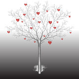 Vector illustration of a bare tree with symbols of human hearts. On a gray background Royalty Free Stock Image