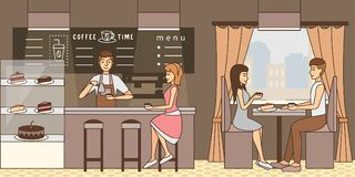 Coffee time concept vector illustration in flat style Stock Photos
