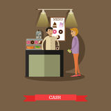 Vector illustration of barista and visitor in flat style Stock Photography