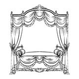 Vector illustration of baroque bed with baldachin vector illustration