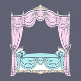 Vector illustration of baroque bed with baldachin  made in hand drawn sketch style. Stock Image