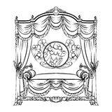 Vector illustration of baroque bed with baldachin and moon Stock Photography