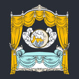 Vector illustration of baroque bed with baldachin and moon Stock Images