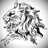 Vector illustration with baroque lion head in Royalty Free Stock Photography
