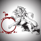 Vector illustration with baroque lion in Victorian. Vector lion in Baroque style Stock Images