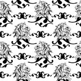 Vector illustration with baroque ornaments in. A seamless vector background in Baroque style Royalty Free Stock Images