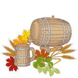 Vector illustration of a barrel mug wheat hops Stock Photography