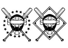 Baseball mask and crossed bats. Vector illustration baseball mask and crossed bats set Royalty Free Stock Photo