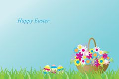 Vector illustration with a basket of flowers and ester eggs. Caption: Happy Easter. Greeting card. royalty free illustration