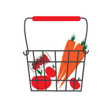 Vector illustration of a basket full of fruits and vegetables Royalty Free Stock Photography