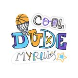 Vector Illustration for basketball, Cool dude. Vector Illustration for basketball, grunge, sketch. Cool dude, my rules slogan. Print design for children`s T royalty free illustration