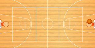 Realistic Vector Basketball Court And Ball Stock