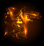 Vector illustration of a basketball player. With lighting effects Royalty Free Stock Photography