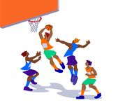 Vector illustration of basketball players in action. Vector illustration of basketball players in action in colorful flat design Royalty Free Stock Image