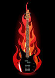Vector illustration of bass guitar in flames. On black background Royalty Free Stock Photos