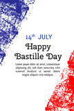 Vector illustration Bastille Day, French flag in trendy grunge style. 14  July design template for poster, banner, flayer Stock Photography
